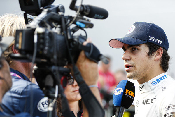 Lance Stroll, Racing Point, is interviewed