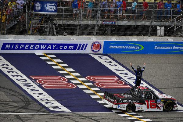 #16: Austin Hill, Hattori Racing Enterprises, Toyota Tundra Hino, AISIN Group celebrates after winning