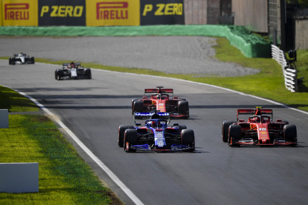 Charles Leclerc, Ferrari SF90, Daniil Kvyat, Toro Rosso STR14 and Sebastian Vettel, Ferrari SF90