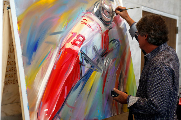 31 August, 2015, San Francisco, California USA Artist Bill Patterson works on a commemorative painting of Justin Wilson that was auctioned off to raise money for the Wilson Childrens Fund ?2015, Phillip Abbott LAT Photo USA