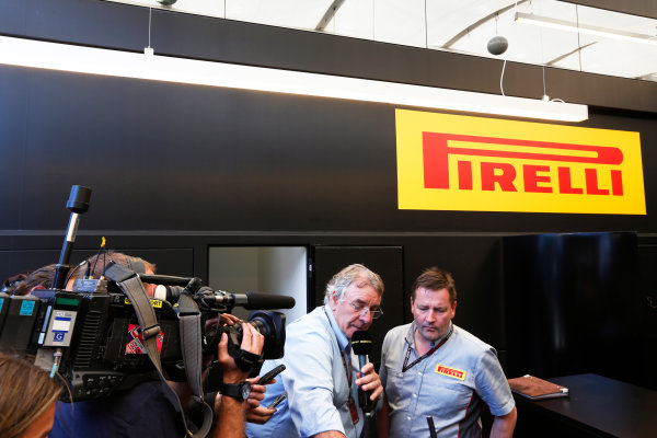 Silverstone, Northamptonshire, England. 30th June 2013. Paul Hembery, Director, Pirelli, holds a Press Conference after the race World Copyright: Charles Coates/  ref: Digital Image _N7T4943
