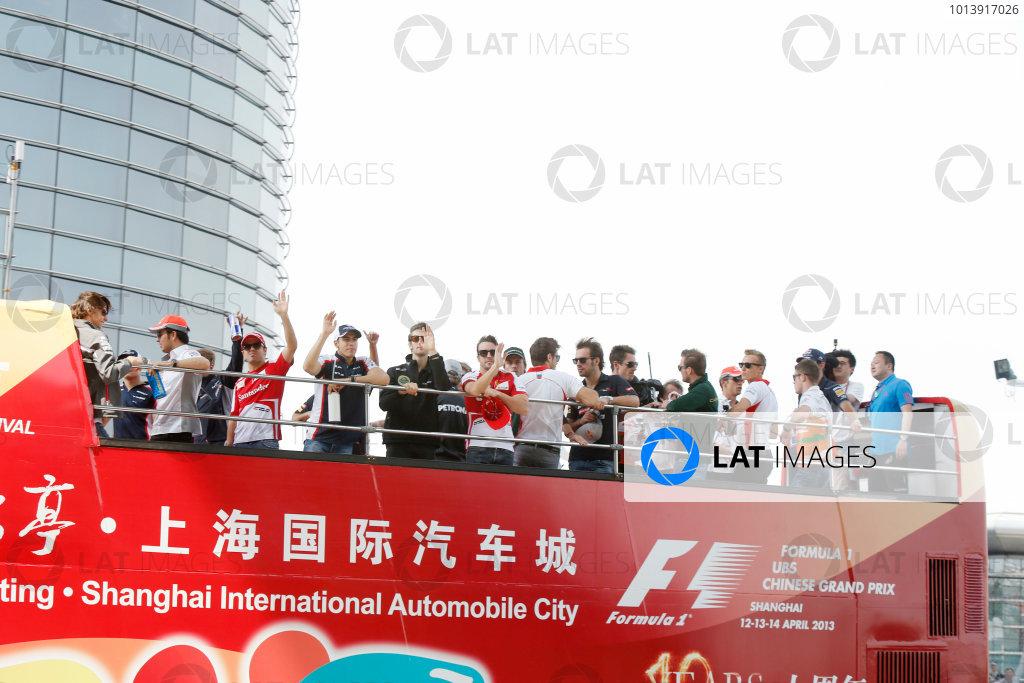 Shanghai International Circuit, Shanghai, China Sunday 14th April 2013 The drivers parade. World Copyright: Charles Coates/LAT Photographic ref: Digital Image _N7T5697