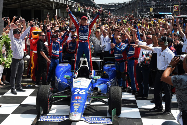 Verizon IndyCar Series Indianapolis 500 Race Indianapolis Motor Speedway, Indianapolis, IN USA Sunday 28 May 2017 Race winner Takuma Sato (JPN) Andretti Autosport Honda celebrates in Victory Lane World Copyright: Jose Rubio/Sutton/LAT Images ref: Digital Image dcd1728my1059