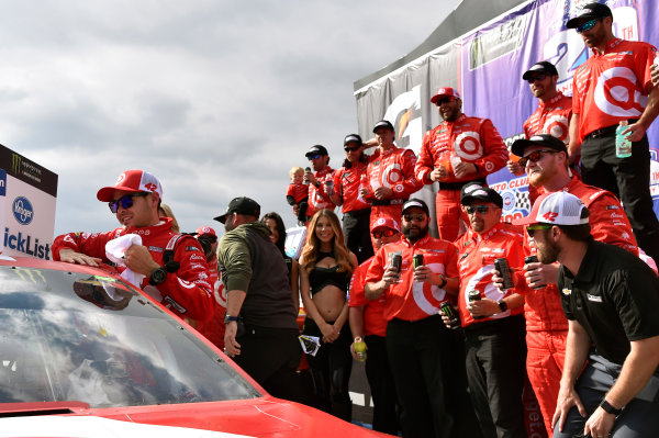2017 Monster Energy NASCAR Cup Series Auto Club 400 Auto Club Speedway, Fontana, CA USA Sunday 26 March 2017 Kyle Larson celebrates in Victory Lane World Copyright: Nigel Kinrade/LAT Images ref: Digital Image 17FON1nk07286