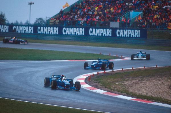 Nurburgring, Germany.29/9-1/10 1995.Martin Brundle followed by teammate Olivier Panis (both Ligier JS41 Mugen-Honda's) and Mika Salo (Tyrrell 023 Yamaha).Ref-95 EUR 07.World Copyright - LAT Photographic