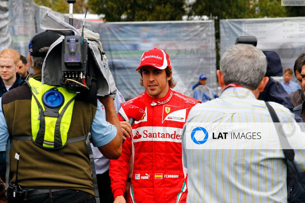 Albert Park, Melbourne, Australia 25th March 2011. Fernando Alonso, Ferrari 150° Italia, is interviewed. Portrait. Media.  World Copyright: Steven Tee/LAT Photographic ref: Digital Image _A8C2193