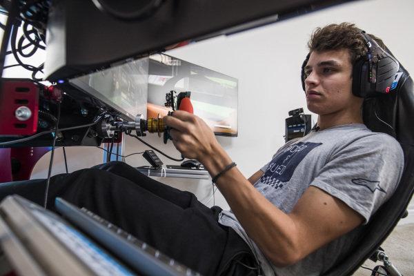 Lando Norris drives a lap of the Interlagos circuit on his home simulator