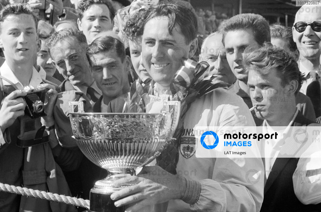 Jack Brabham celebrates victory.