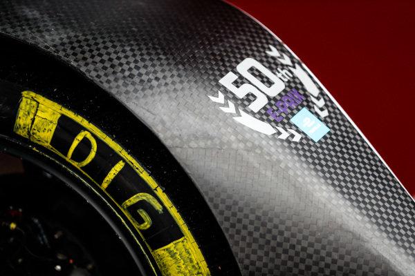 A decal on the livery of Lucas Di Grassi's (BRA), Audi Sport ABT Schaeffler, Audi e-tron FE05 celebrating Formula E's 50th race