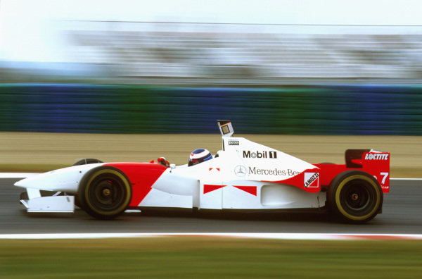 Magny-Cours, France.28-30 June 1996.Mika Hakkinen (McLaren MP4/11 Mercedes) 5th position.Ref-96 FRA 18.World Copyright - LAT Photographic
