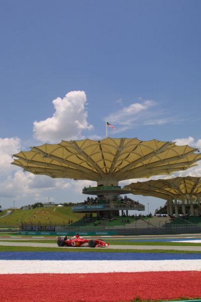 2003 Malaysian Grand Prix. Sepang, Kuala Lumpur, Malaysia.21-23 March 2003.Rubens Barrichello (Ferrari F2002) 2nd posiion.World Copyright - LAT Photographic ref: Digital Image Only