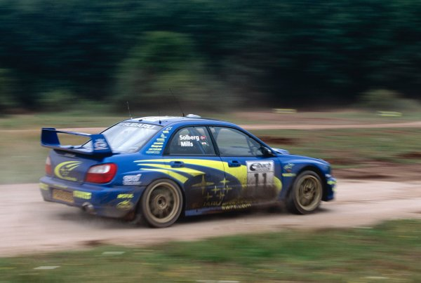 2002 World Rally Championship.ADAC Rallye Deutschland, Trier, Germany. August 22nd - 25th 2002.Petter Solberg/Philip Mills (Subaru Impreza WRC 2002), action.Photo: McKlein/LAT Photographicref: 35mm Image A19