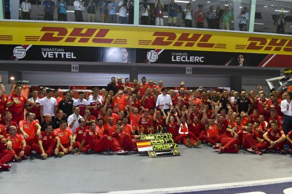 Charles Leclerc, Ferrari and Race winner Sebastian Vettel, Ferrari pose for a team photograph