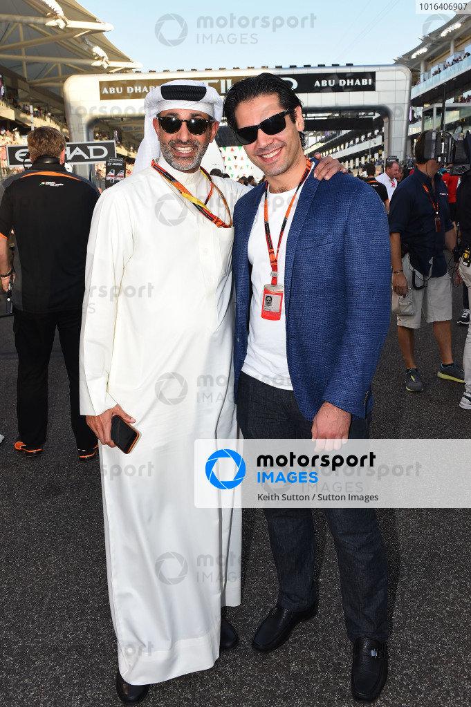 Zayed Al Zayani, Chairman Bahrain International Circuit  and Arif Rahimov, Baku Street Circuit Promoter on the grid at Formula One World Championship, Rd19, Abu Dhabi Grand Prix, Race, Yas Marina Circuit, Abu Dhabi, UAE, Sunday 29 November 2015.