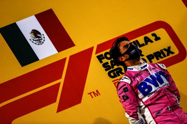Sergio Perez, Racing Point, 1st position, on the podium