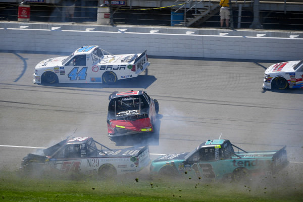 #17: Tyler Ankrum, DGR-Crosley, Toyota Tundra May's Hawaii, #13: Johnny Sauter, ThorSport Racing, Ford F-150 Tenda Heal, and #54: Natalie Decker, DGR-Crosley, Toyota Tundra N29 Technologies LLC wreck