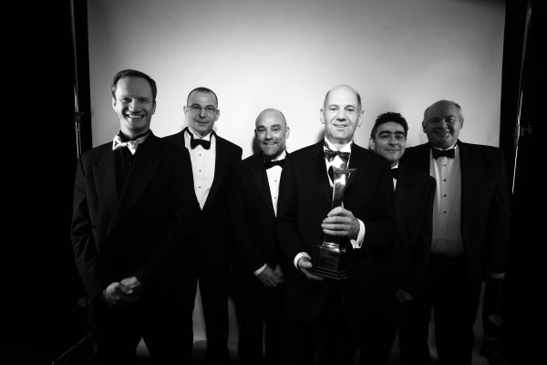 Grosvenor House Hotel, Park Lane, London 5th December 2010 Adrian Newey and design team hold the Award for the Racing Car of the Year.World Copyright:Malcolm Griffiths/LAT Photographic ref: Digtal Image IMG_3800