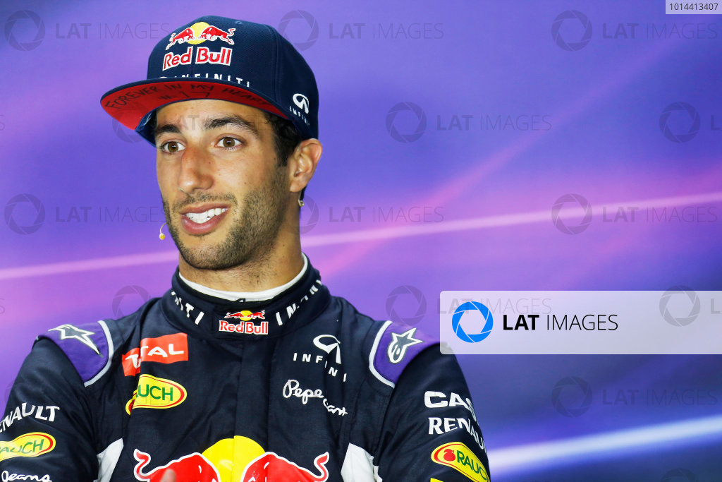Hungaroring, Budapest, Hungary. Sunday 26 July 2015. Daniel Ricciardo, Red Bull Racing, 3rd Position, in the Press Conference. World Copyright: Alastair Staley/LAT Photographic ref: Digital Image _R6T9441