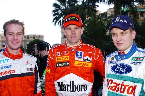 Finnish WRC drivers (L to R): Harri Rovanpera (FIN) Mitsubishi Lancer WR05; Marcus Gronholm (FIN) Peugeot 307 WRC; Toni Gardemeister (FIN) Ford Focus WRC 04.FIA World Rally Championship, Rd 1, Monte Carlo Rally, Shakedown, Monte Carlo, Monaco,  20-23 January 2005.DIGITAL IMAGE