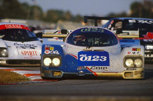 Daytona, Florida, USA. 1st - 2nd February 1992.Hurley Haywood/Eje Elgh/Roland Ratzenberger/Scott Brayton/Vern Schuppan (Porsche 962), 3rd position, action. World Copyright: LAT PhotographicRef: 92IMSA DAY02