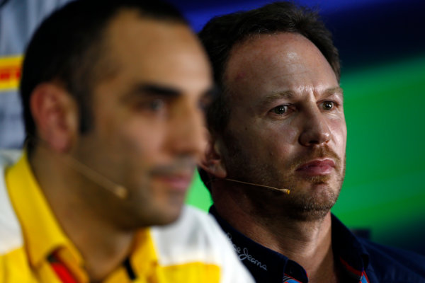 Sepang International Circuit, Sepang, Kuala Lumpur, Malaysia. Friday 27 March 2015. Cyril Abiteboul, Head Engineer, Renault Sport F1, and Christian Horner, Team Principal, Red Bull Racing, in the team principals Press Conference. World Copyright: Andrew Hone/LAT Photographic. ref: Digital Image _ONY9216
