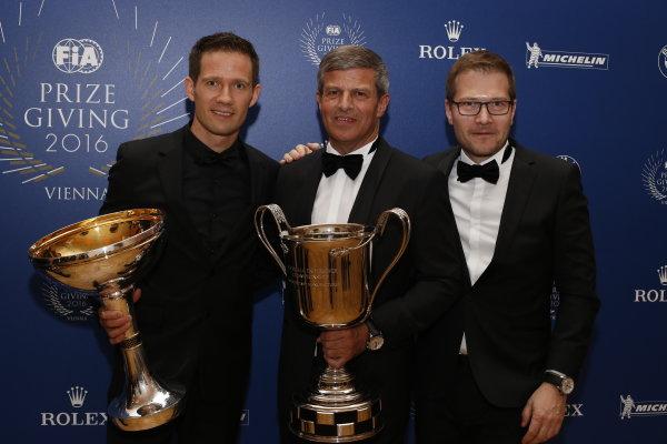 2016 FIA Prize Giving Vienna, Austria Friday 2nd December 2016 Sebastien Ogier, Fritz Enzinger. Photo: Copyright Free FOR EDITORIAL USE ONLY. Mandatory Credit: FIA ref: 31236843752_bfa4790682_o