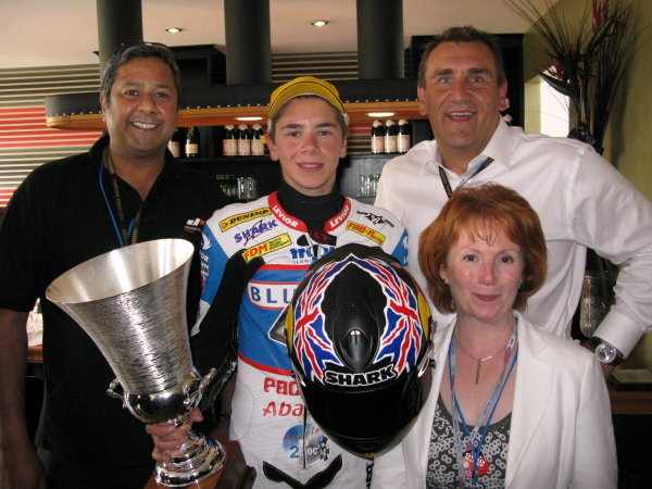 L-R: Lee Gill (GBR) Donington Park CEO, Scott Redding (GBR) Blusens Aprilia Junior - 125cc race winner, Simon Gillett (GBR) Donington Park CEO and Hazel Blears (GBR) Secretary for State for Communties and Local Government.
