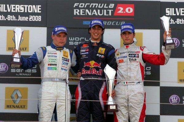 Valtteri Bottas (FIN) Motopark Academy 2nd, Daniel Ricciardo (AUS) SG Formula 1st and Andrea Caldarelli (ITA) SG Formula  3rd. Formula Renault Euro Cup, Silverstone, England. 08 June 2008