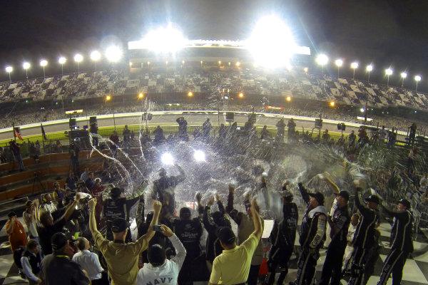 21-22 February, 2013, Daytona Beach, Florida, USA Johnny Sauter celebrates in victory lane ©2013, Lesley Ann Miller LAT Photo USA