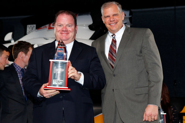 6 December, 2012, Indianapolis, Indiana USA Chip Ganassi with Art StCyr from Honda.(c)2012, Russell LaBounty LAT Photo USA .