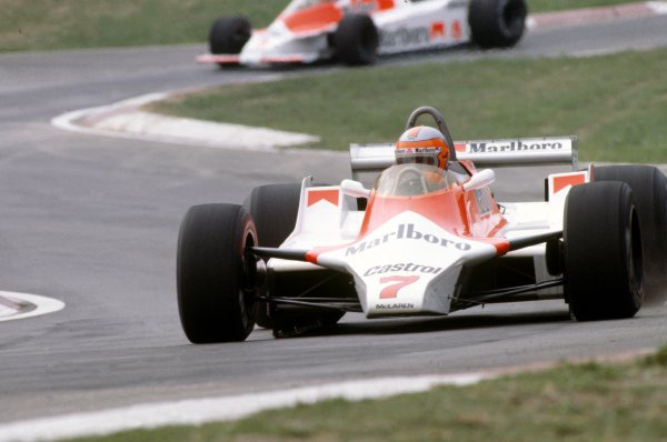 1980 Italian Grand Prix.Imola, Italy. 12-14 September 1980.John Watson (McLaren M29C-Ford Cosworth) leads Alain Prost (McLaren M30-Ford Cosworth). Prost finished in 7th position.World Copyright: LAT PhotographicRef: 35mm transparency 80ITA13