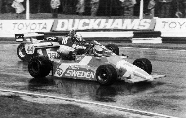 Brands Hatch, England. 23rd September 1984.Tomas Kaiser (March 842-BMW), 4th position, passes Alessandro Nannini (Minardi M283-BMW), 5th position, action.World Copyright: LAT Photographic.Ref: Autosport Used Pic 27th September 1984