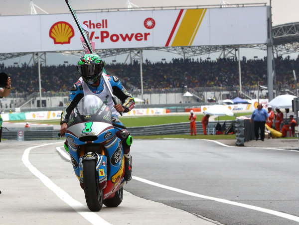 2017 Moto2 Championship - Round 17 Sepang, Malaysia. Sunday 29 October 2017 Third place and champion Franco Morbidelli, Marc VDS World Copyright: Gold and Goose / LAT Images ref: Digital Image 26777