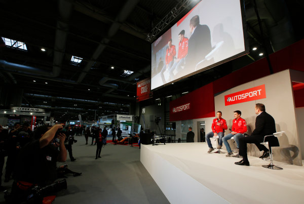 Autosport International Exhibition. National Exhibition Centre, Birmingham, UK. Friday 12th January 2018. Kris Meeke and Craig Breen of Citroen meet Henry Hope-Frost on the Autosport Stage. World Copyright: Joe Portlock/LAT Images Ref: _L5R8916