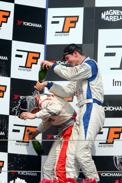 Winner Alexander Rossi (USA) ISR, right, sprays second placed Josef Kral (CZE), JD Motorsport, right, with champagne.