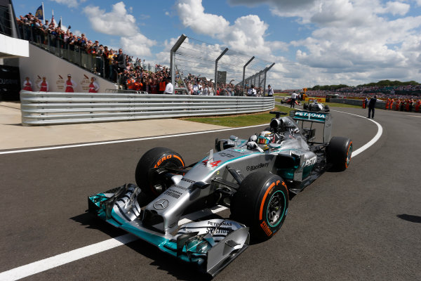 Silverstone, Northamptonshire, England. Sunday 6 July 2014. Lewis Hamilton, Mercedes F1 W05 Hybrid. World Copyright: Andrew Ferraro/LAT Photographic. ref: Digital Image _FER1625