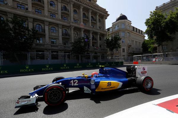Baku City Circuit, Baku, Azerbaijan. Saturday 18 June 2016. Felipe Nasr, Sauber C35 Ferrari. World Copyright: Glenn Dunbar/LAT Photographic ref: Digital Image _V2I9678
