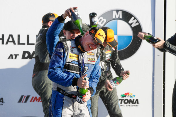 2017 BMW Endurance Challenge at Daytona Daytona, Florida, USA. Friday January 27 2017. 12, Porsche, Porsche Cayman GT4, GS, Cameron Cassels, Trent Hindman, champagne World Copyright: Michael L. Levitt/LAT Images