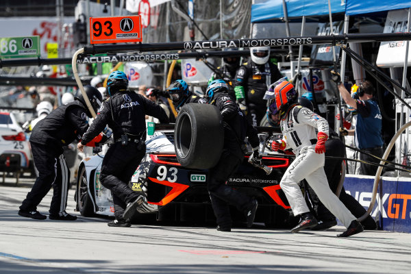 2017 IMSA WeatherTech SportsCar Championship BUBBA burger Sports Car Grand Prix at Long Beach Streets of Long Beach, CA USA Saturday 8 April 2017 93, Acura, Acura NSX, GTD, Andy Lally, Katherine Legge, pit stop World Copyright: Michael L. Levitt LAT Images ref: Digital Image levitt-0417-lbgp_08153