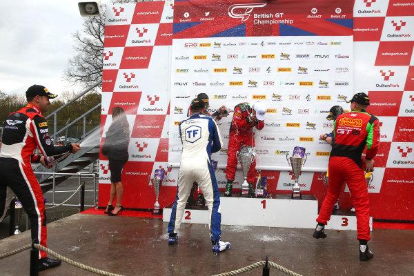 2017 British GT Championship, Oulton Park, 15th-17th April, 2017, Race 2 GT3 Podium  World copyright. JEP/LAT Images