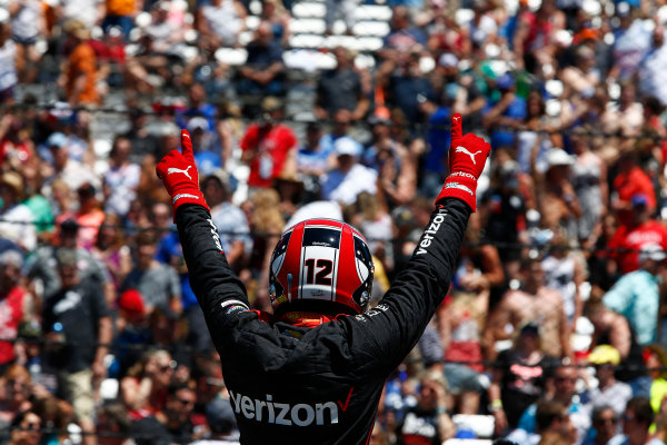 Verizon IndyCar Series Indianapolis 500 Carb Day Indianapolis Motor Speedway, Indianapolis, IN USA Friday 26 May 2017 Will Power, Team Penske Chevrolet celebrates winning the Pit Stop Competition World Copyright: Phillip Abbott LAT Images ref: Digital Image abbott_indy_0517_26871