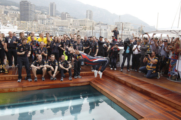 Monte Carlo, Monaco27th May 2012Mark Webber, Red Bull Racing, 1st position, backflips in to the pool at the Red Bull celebration party.World Copyright:Charles Coates/LAT Photographicref: Digital Image _X5J6393
