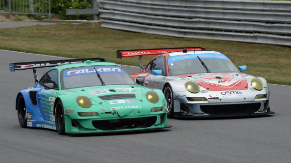 6-7 July, 2012, Lakeville, Connecticut USA#17 Team Falken Tire Porsche 911 GT3 RSR with #44 Porsche(c)2012 Dan R. Boyd LAT Photo USA