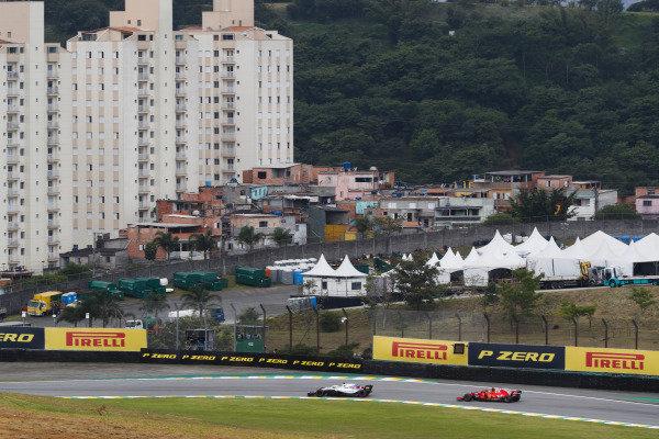 Lance Stroll, Williams FW41, leads Sebastian Vettel, Ferrari SF71H