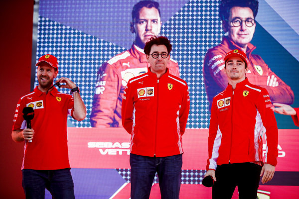 Sebastian Vettel, Ferrari., Mattia Binotto, Team Principal Ferrari and Charles Leclerc, Ferrari on stage at the Federation Square event