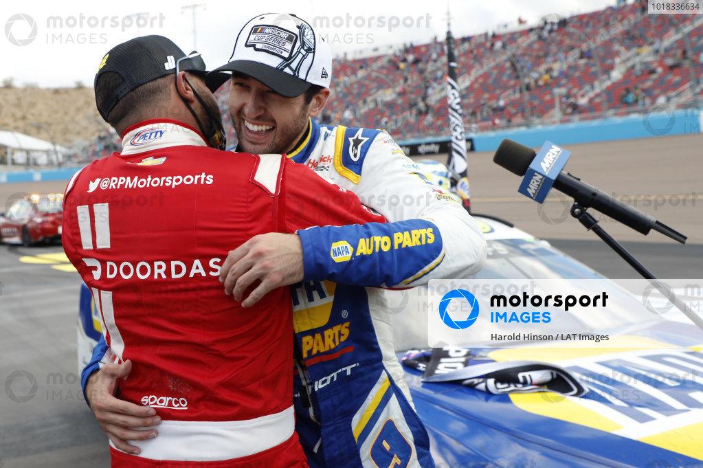 #9: Chase Elliott, Hendrick Motorsports, Chevrolet Camaro NAPA Auto Parts, celebrates after winning the Nascar 2020 Cup Championship, #43: Darrell Wallace Jr., Richard Petty Motorsports, Chevrolet Camaro Door Dash
