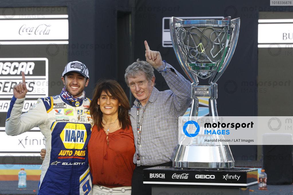 #9: Chase Elliott, Hendrick Motorsports, Chevrolet Camaro NAPA Auto Parts, celebrates after winning the Nascar 2020 Cup Championship with Bill Elliott and Cindy Elliott