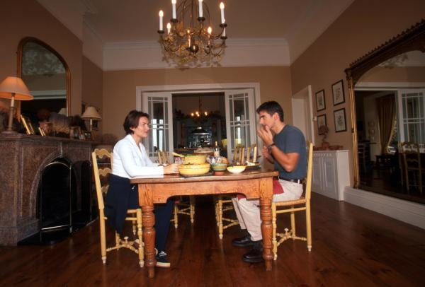 Damon Hill (GBR) enjoys a meal with his wife Georgie at his home in Ireland.