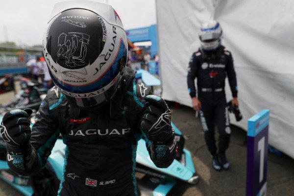 Sam Bird (GBR), Jaguar Racing, 1st position, celebrates on arrival in Parc Ferme