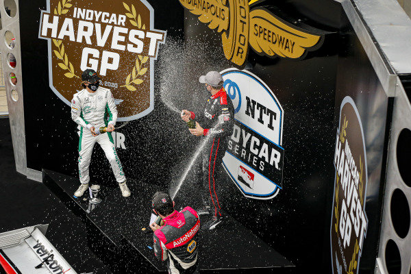 #12: Will Power, Team Penske Chevrolet celebrates winning the Harvest GP Race 2, #88: Colton Herta, Andretti Harding Steinbrenner Autosport Honda, #27: Alexander Rossi, Andretti Autosport Honda